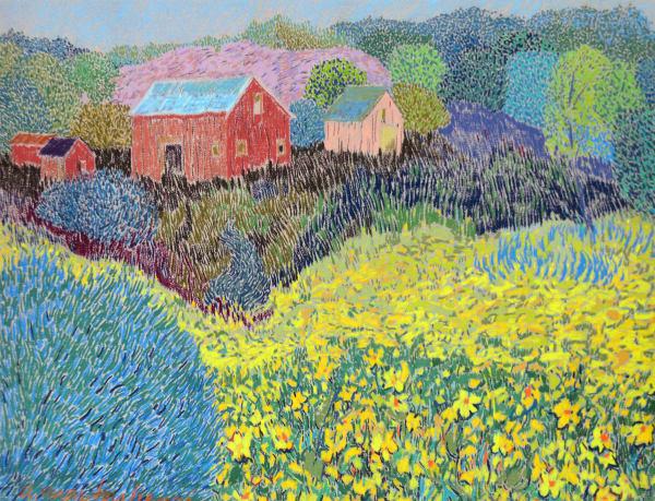 Alex Martonhegyi, Field of Daffodils with Barn
