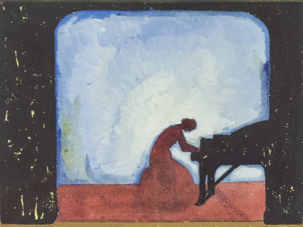 August Biehle, Untitled Woman Playing Piano