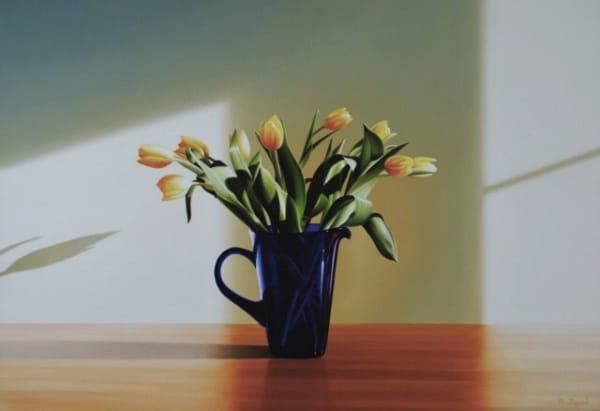 Michael Zigmond, Yellow Tulips in Blue Pitcher