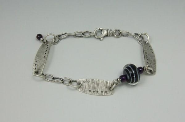 Pam Pastoric, Sterling Silver Bracelet with Black Spiral Glass bead