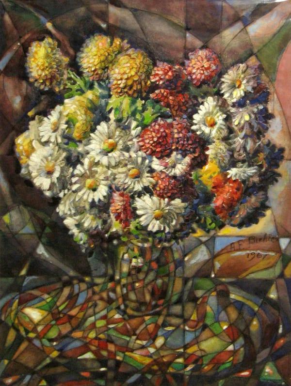 August Biehle, Floral Faceted Design, 1961