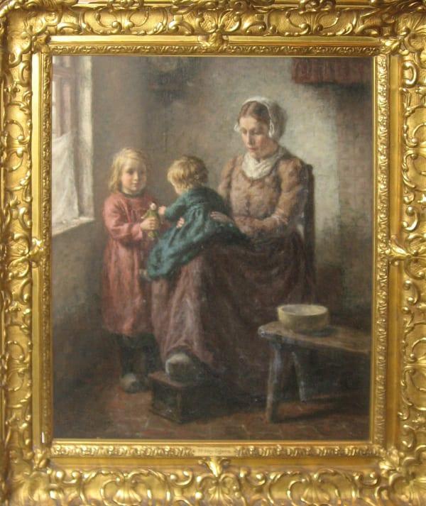 Hendrik Heyligers, Kitchen Interior with Mother & Children