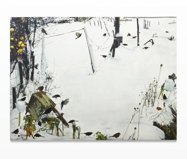 Leopold RABUS, Merles dans la neige, 2015