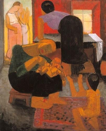 <em>Interior - The Bastard Child (and 'Figures in a Landscape' verso)</em>, c.1915