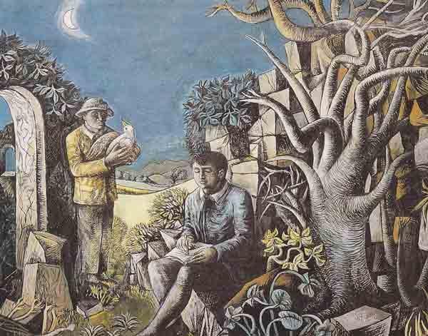 <em>Landscape with Poet & Birdcatcher</em>, 1942