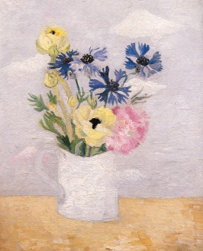 <em>Anenomes, Cornflowers & Pinks in a White Mug</em>, 1927