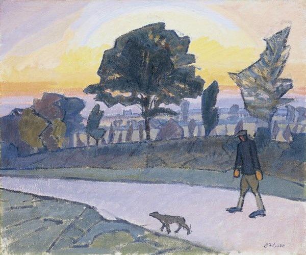<em>Sunset, Letchworth Man and dog</em>, 1912