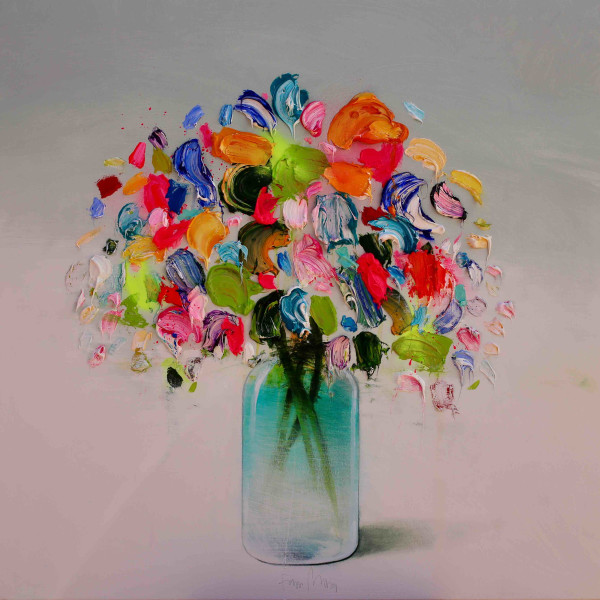 Fran Mora - Textured Flowers (Green Vase)
