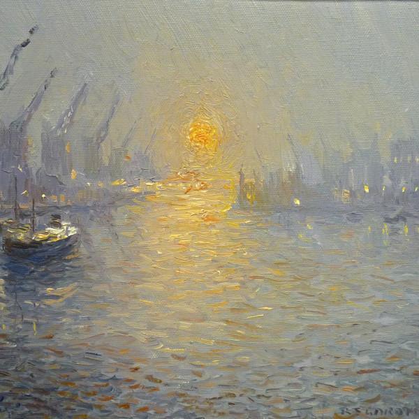 Reg Gardiner - Winter Sunset, North Bay, Trafford Wharf, Manchester