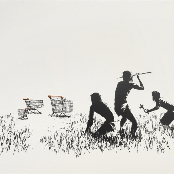 Banksy, Trolley Hunters (Black and White) *SOLD*, 2007