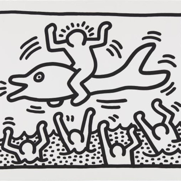 Keith Haring, Untitled (Man on Dolphin) *SOLD*, 1987