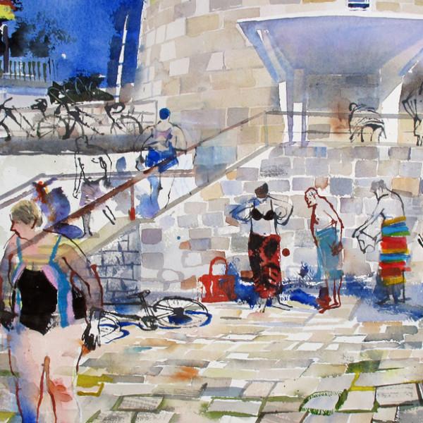 John Short - Seapoint Bathing scene with Ultramarine