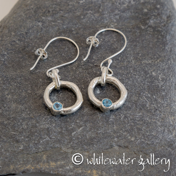 Marsha Drew, Rockpool Halo Drop Earrings with Swiss Blue Topaz
