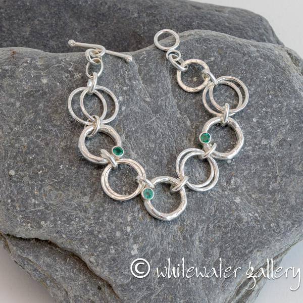 Marsha Drew, Rockpool Chain Link Bracelet with Molten and Hammered Silver Links & 3 Emeralds