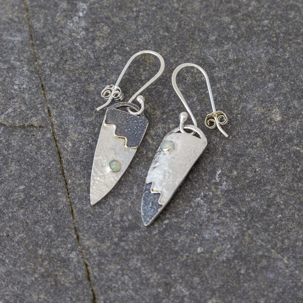Marsha Drew, Long Shield Earrings, part Oxidised with Lapis Lazuli