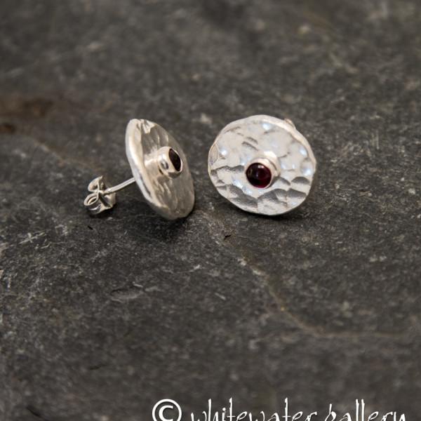 Marsha Drew, Hammered Fine Silver Stud Earrings with Garnet