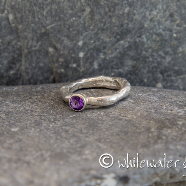 Marsha Drew, Rockpool Rustic Ring with Small Amethyst