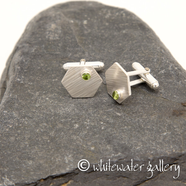 Marsha Drew, Hexagon Cufflinks with Peridot