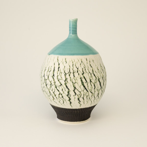 Hugh West, Green Crackle Bottle Vase