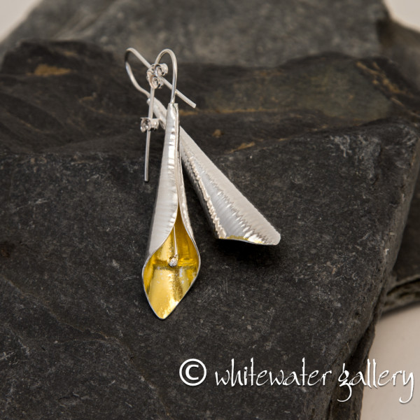 Marsha Drew, Calla Lily Earrings in Sterling Silver with 24k Gold Keum-Boo, Small
