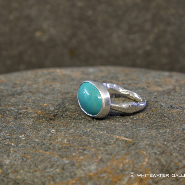 Marsha Drew, Rockpool Rustic Ring with Large Oval Turquoise