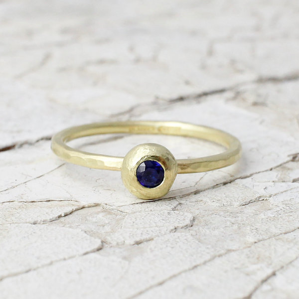 Marsha Drew, Slim Hammered Nugget Ring with Sapphire