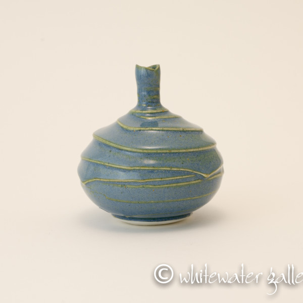 Hugh West, Small Glazed Textured Bottle Vase Blue