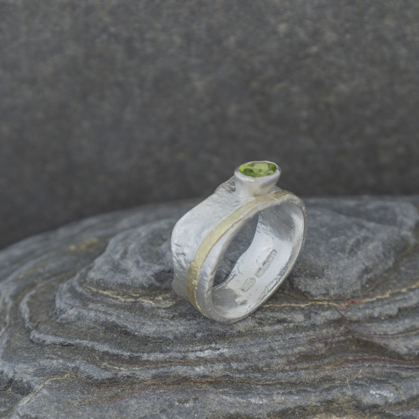 Marsha Drew, Textured Peridot Crown Ring with 9k Gold Detail