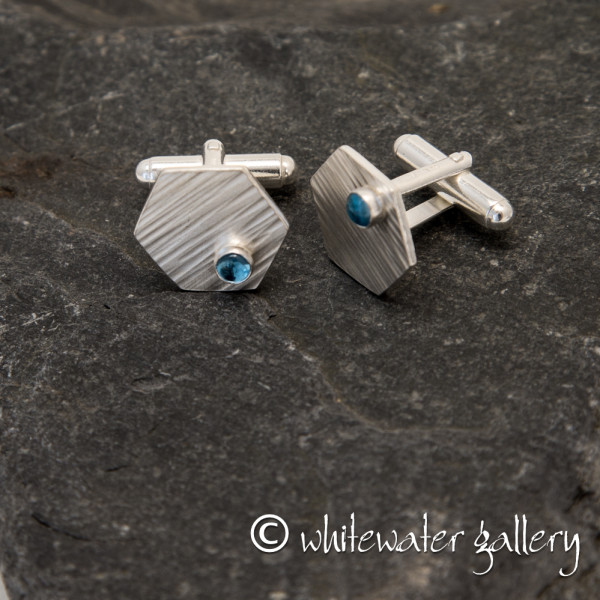 Marsha Drew, Hexagon Cufflinks with Swiss Blue Topaz