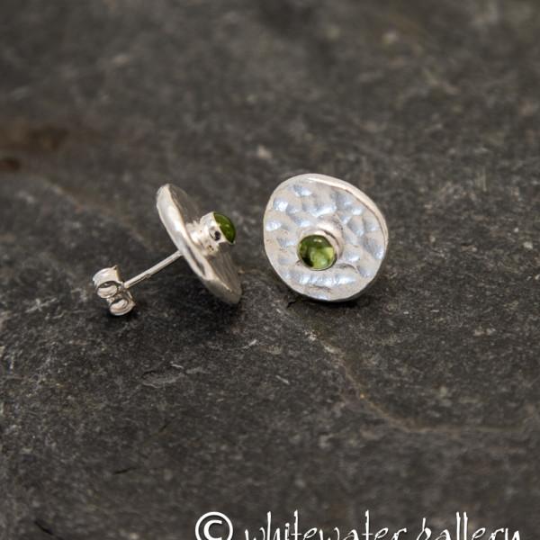 Marsha Drew, Hammered Fine Silver Stud Earrings with Peridot