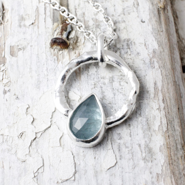 Marsha Drew, Halo Pendant, Teardrop Faceted Aquamarine