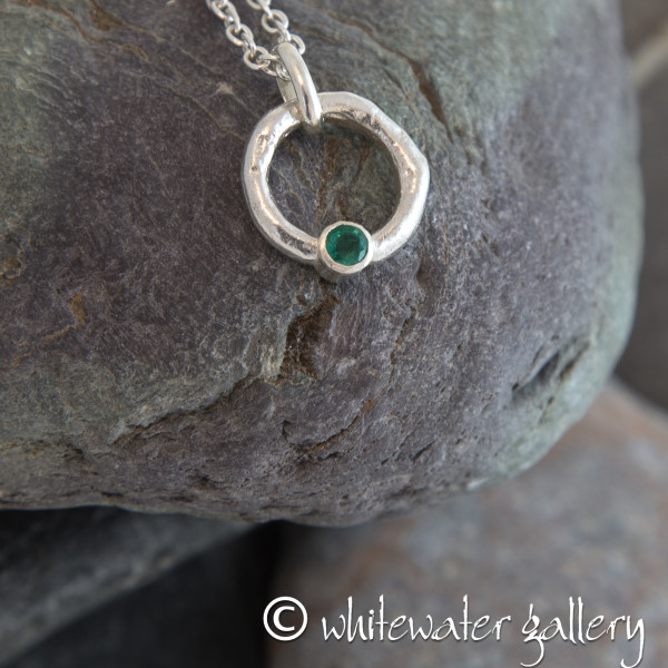 Marsha Drew, Rockpool Halo Pendant with Emerald