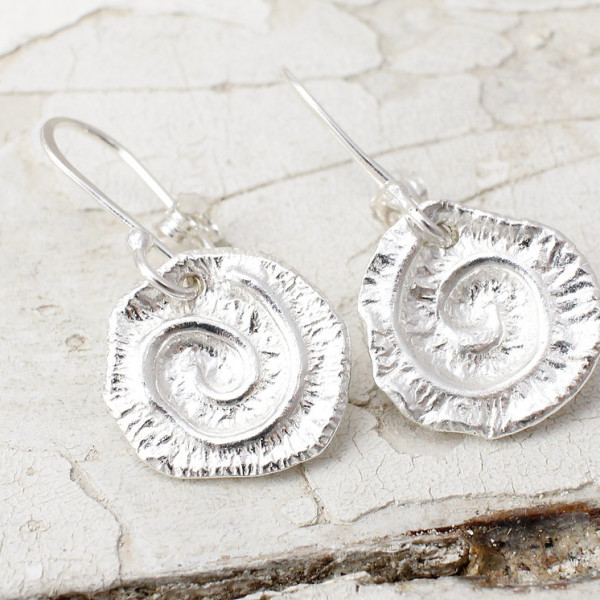 Marsha Drew, Textured Swirly Dangle Earrings