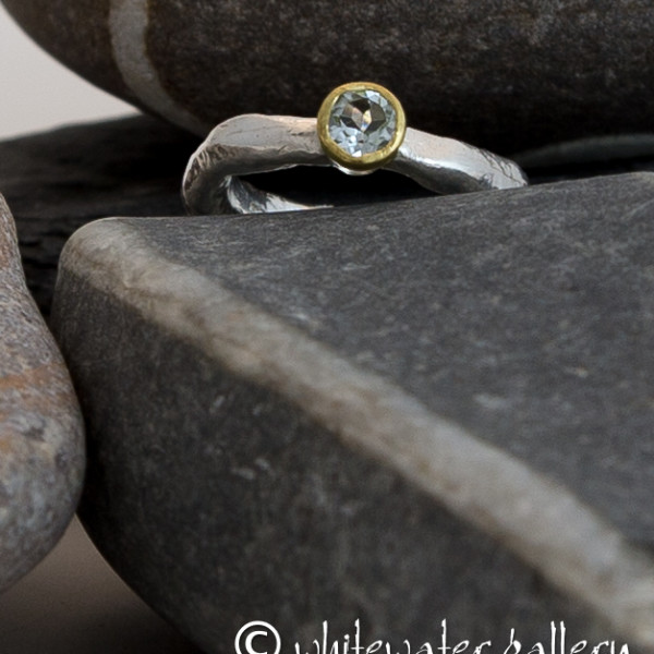 Marsha Drew, Rockpool Rustic Ring with 18ct gold and aquamarine