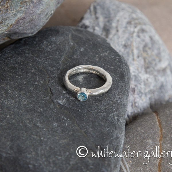 Marsha Drew, Rockpool Rustic Ring with Swiss Blue Topaz