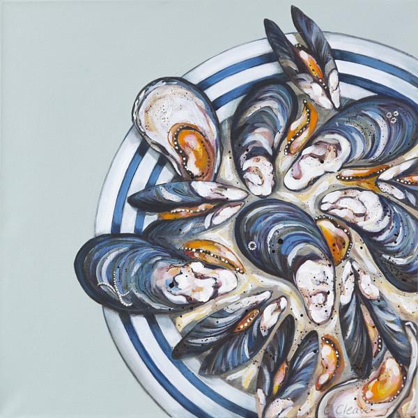 Caroline Cleave, Cornish Blue Plate & Mussels