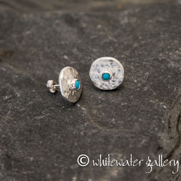 Marsha Drew, Hammered Fine Silver Stud Earrings with Turquoise