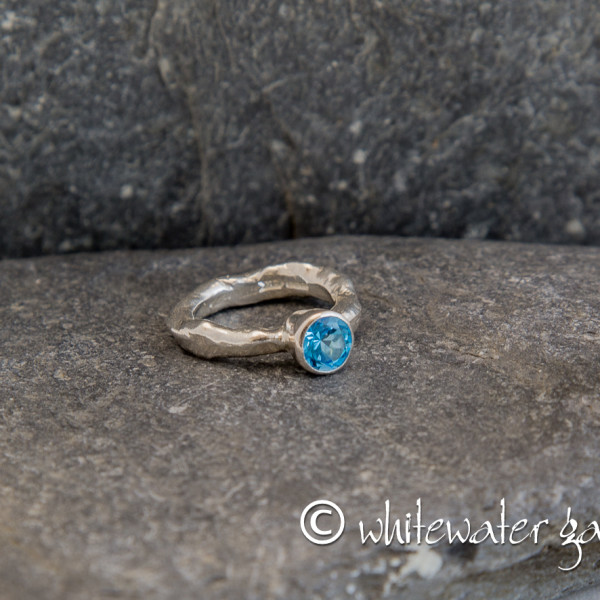Marsha Drew, Rockpool Rustic Ring with large Swiss Blue Topaz