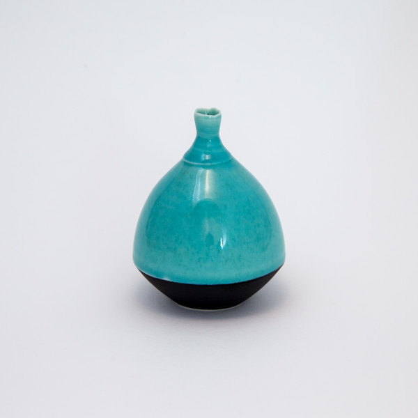 Hugh West, Round Bottle, Turquoise Glaze
