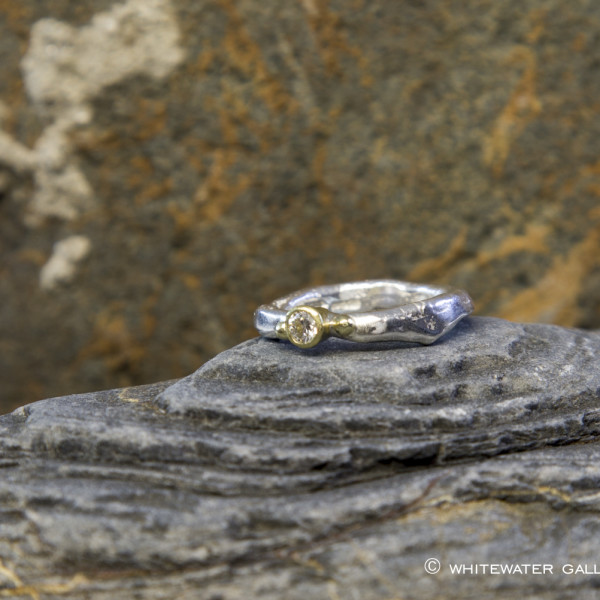 Marsha Drew, Rockpool Rustic Diamond Ring with 18k Gold Detail