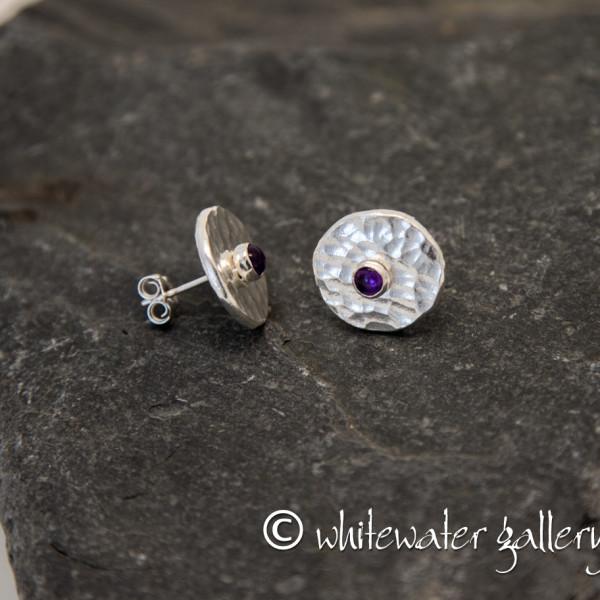 Marsha Drew, Hammered Fine Silver Stud Earrings with Amethyst