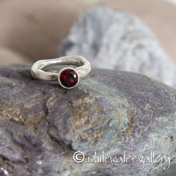 Marsha Drew, Rockpool Rustic Ring with large Garnet