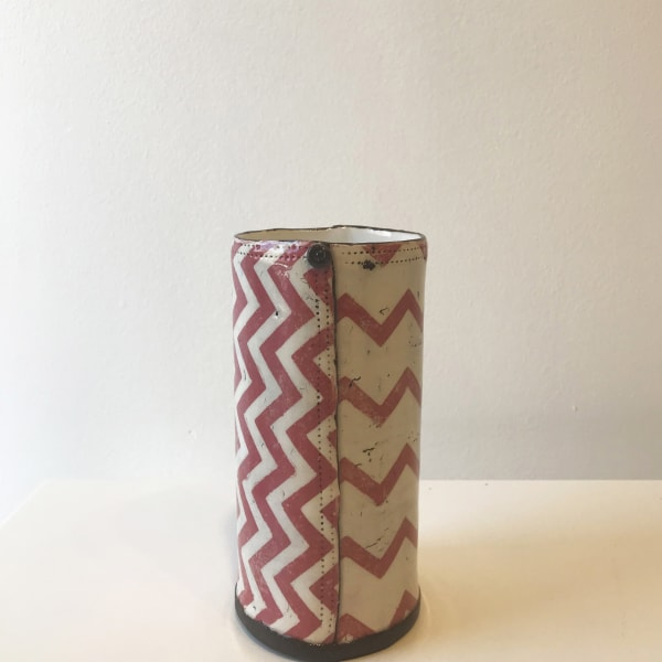 Sam Walker - Pink Chevron, Cylindrical Vase