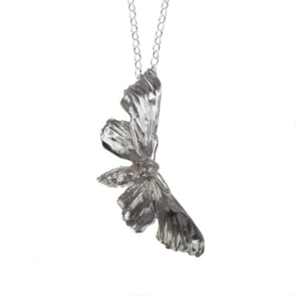 Lucy Jade Sylvester - Silver Midnight Hawkmoth Necklace, Long chain