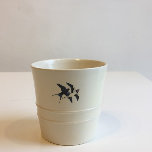 Fliff Carr - White Cup with 2 Swallows, 2018