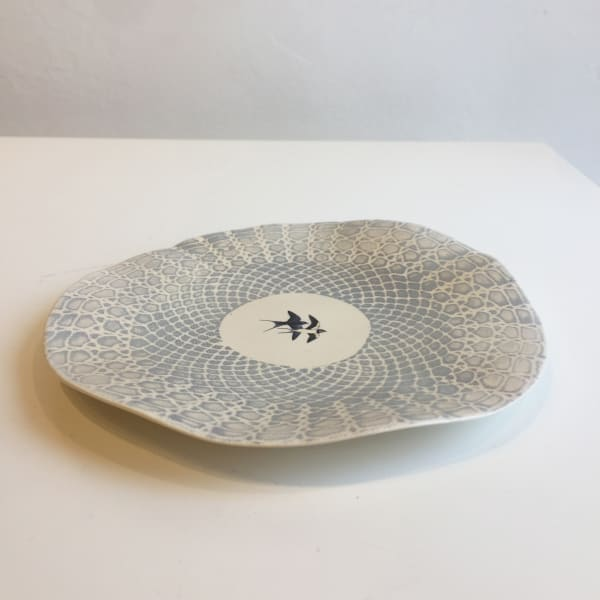 Fliff Carr - Blue Plate with White Lace Pattern, 2018