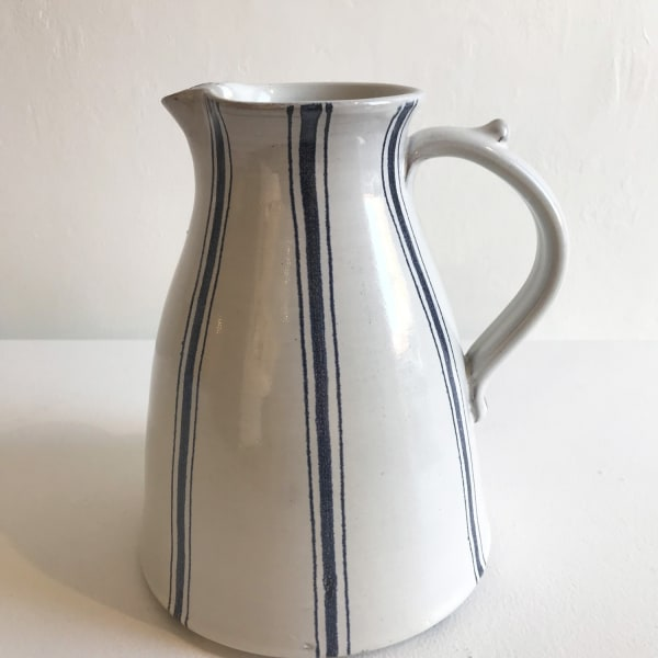 Tydd Pottery - Wide Blue Stripe on White, Large Jug