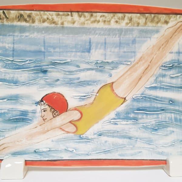 Clare Nicholls - Plunge (Red Swimming Cap), 2020