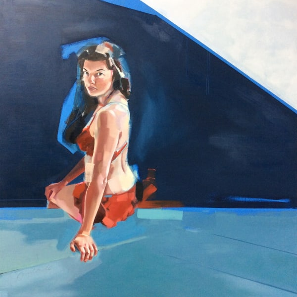 Clare Bonnet, 'Poolside', oil on board