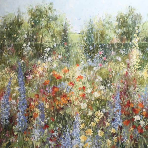 Fletcher Prentice, 'Tithonias and Delphiniums', oil on canvas, H 100 cm x 100 cm